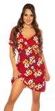 Jarné šaty s krátkymi rukávmi Červená