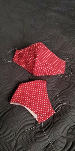 Dámske rúško červené s bielymi bodkami