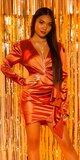 Saténové wrap šaty Bronzová