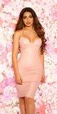 Kožené ,,wetlook,, šaty s veľkým výstrihom Bledá ružová