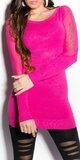 Jemný svetrík s presvitajúcimi rukávmi a nápisom KouCla Ružová