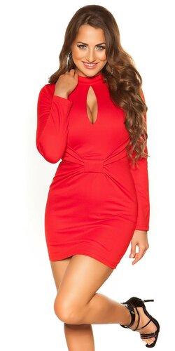 Dámske mini šaty s otvoreným výstrihom Červená