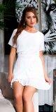 Prekladané blúzkové mini šaty s bodkami Biela
