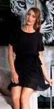Prekladané blúzkové mini šaty s bodkami Čierna
