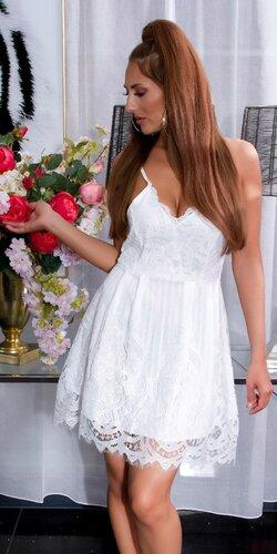 Značkové letné mini šaty na ramienka s krajkou Biela