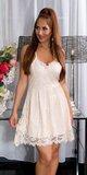 Značkové letné mini šaty na ramienka s krajkou Lososová