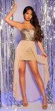 Mini šaty s vlečkou a flitrovaným vrchom Béžová