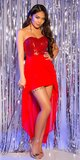Mini šaty s vlečkou a flitrovaným vrchom Červená