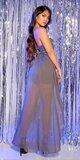 Mini šaty s vlečkou a flitrovaným vrchom Antracitová