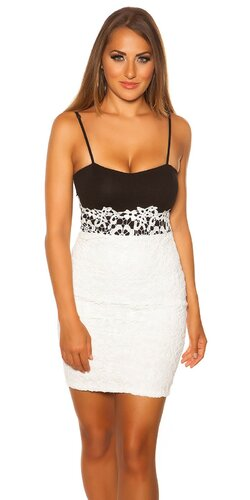Dámske čiernobiele mini šaty Biela