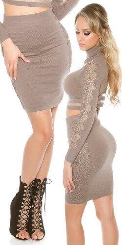 Dámska zvýšená pletená sukňa s čipkou
