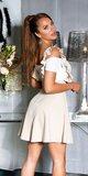 Vysoká sukňa na ramienka s volánikmi Béžová