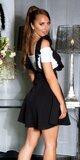 Vysoká sukňa na ramienka s volánikmi Čierna