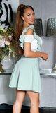 Vysoká sukňa na ramienka s volánikmi Mintová