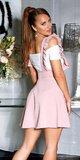 Vysoká sukňa na ramienka s volánikmi Ružová
