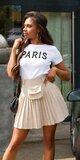 Prekladaná vysoká sukňa s mini kabelkou Béžová