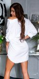 Boyfriend šaty/tričko s rozparkami Biela