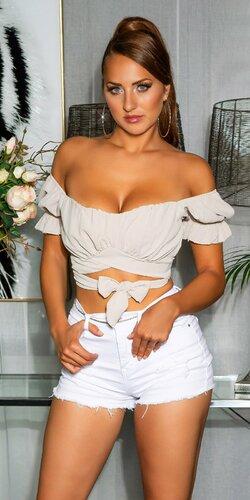 Sexi off-shoulder top s viazaním Béžová