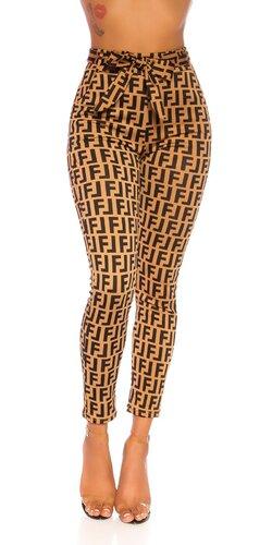 Vysoké vzorované nohavice/legíny s opaskom