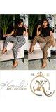 Vysoké vzorované nohavice/legíny s opaskom Cappuccino