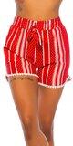 Letné vysoké šortky s potlačou Červená