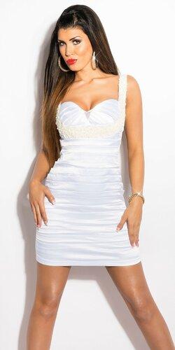Kokteilové šaty s perličkami Biela