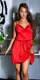Voľné saténové mini šaty na ramienkach Červená