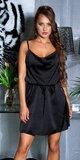 Voľné saténové mini šaty na ramienkach Čierna