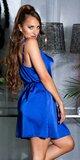 Voľné saténové mini šaty na ramienkach Kráľovská modrá