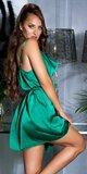 Voľné saténové mini šaty na ramienkach Zelená