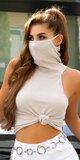 Trendy rolák s integrovaným rúškom - ochrana tváre Béžová
