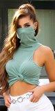 Trendy rolák s integrovaným rúškom - ochrana tváre Khaki