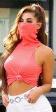 Trendy rolák s integrovaným rúškom - ochrana tváre Koralová
