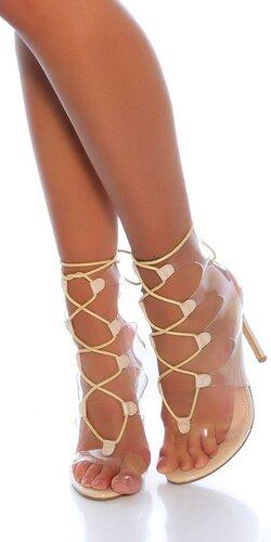 Transparentné sandálky so šnúrkami na ihličkovom podpätku