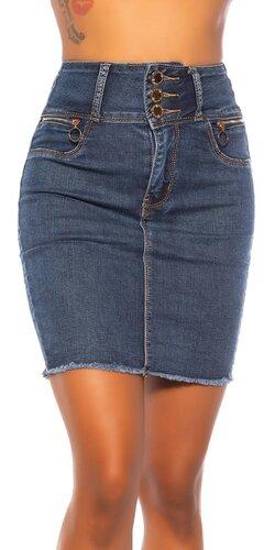 Džinsová sukňa s vysokým pásom na gombíky