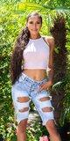 Džínsové šortky s dierami na stehnách Tmavomodrá