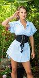 QUEEN mini šaty Modrá