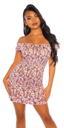 Letné mini šaty FLOWER s odhalenými ramenami
