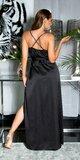 Luxusné saténové maxi šaty na úzkych ramienkach Čierna