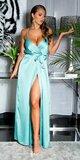 Luxusné saténové maxi šaty na úzkych ramienkach Tyrkysová