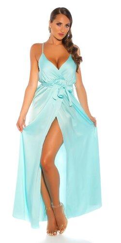 Luxusné saténové maxi šaty na úzkych ramienkach