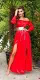 Saténové latina maxi šaty Červená