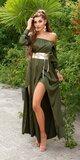 Saténové latina maxi šaty Khaki