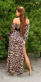 Saténové latina maxi šaty Leopard