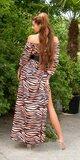 Saténové latina maxi šaty Zebra