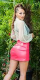 Sexi leather look mini sukňa Ružová