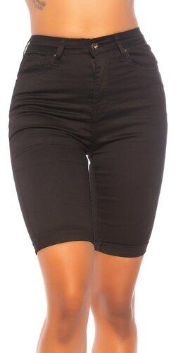 Čierne džínsové kraťasy s vysokým pásom