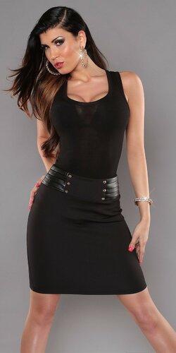 Dámska štýlová sukňa s koženkovým pásom