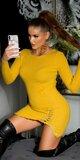 Pletené šaty s detailným šnurovaním na stehne Žltá