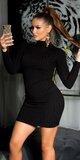 Pletené šaty s vysokým krkom Čierna
